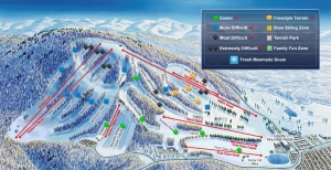 A map of various trails at Liberty Mountain ski resort